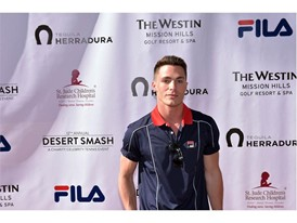 Colton Haynes Wears FILA at 12th Annual Desert Smash Charity Celebrity Tennis Event