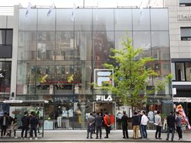Frontal exterior view of FILA's new mega shop in Itaewon, Seoul