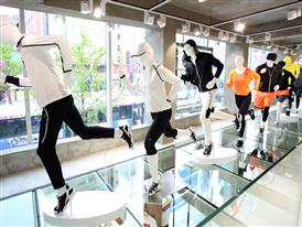 Window display in FILA's new 3-story Seoul mega shop