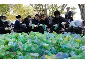 Tsu Chi Foundation volunteers recycling plastic bottles