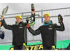 Clement Desalle & Jordi Tixier on Lacapelle podium (Monster Energy Kawasaki Racing Team)