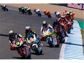 Moto2 race action in Spain