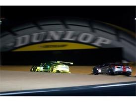 Winning GTE Pro Aston Martin Vantage under the Dunlop bridge