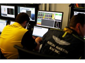 The Dunlop engineers studying data during the race