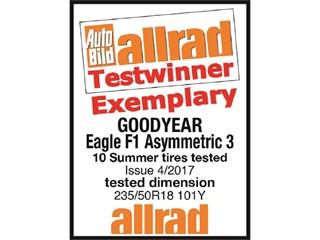 Goodyear's Eagle F1 Asymmetric 3 overall test winner of the Auto Bild allrad Summer tire test