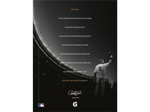 "Gatorade ""Made in New York"" Derek Jeter print ad"