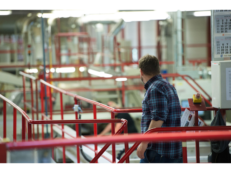Mårten Gyllensvaan looks out over the production line were BILLY bookcases are made.