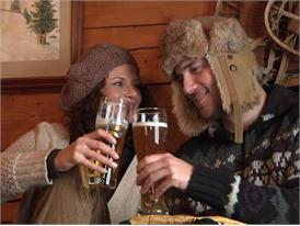 Bavarian alpine pasture in winter, snack and beer
