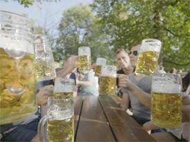at the beer garden, people enjoying beer