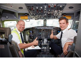 Captain Ulrich Pade and First Officer Rafael Gabel in the cockpit