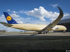 A350-900 MSN074 DLH Rolls into Paintshop