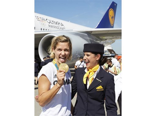 Beach Volleyball Gold medal winner Laura Ludwig after arrival in Frankfurt