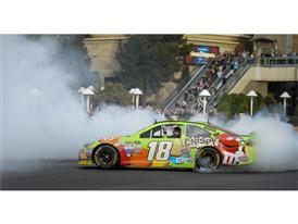 NASCAR Champion Kyle Busch performs burnout