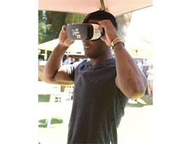 Josh Dixon experiences Vegas VR at the #WHHSH Las Vegas Party in Palm Springs