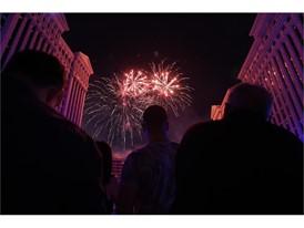 Fireworks at Caesars Palace anniversary celebration