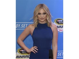 Actress Olivia Holt arrives on the red carpet for the annual NASCAR Sprint Cup Series Awards