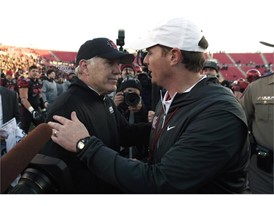 San Diego State head coach Rocky Long and University of Houston head coach Major Applewhite