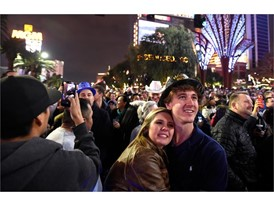 Crowds celebrate New Year's Eve on Las Vegas Strip