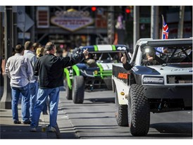 Race fans greet the drivers in the Mint 400 4 Wheel Parts Vehicle Procession