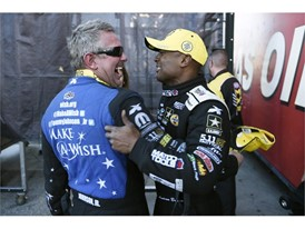 Funny Car winner Tommy Johnson Jr. and Top Fuel winner Antron Brown