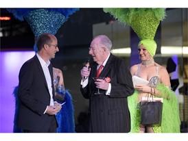 Las Vegas Host Committee Chairman Oscar B. Goodman talks with a tourist from Brazil