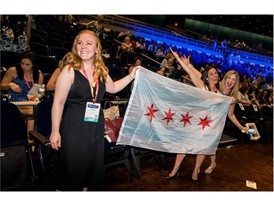Members of the Chicago contingent greet attendees