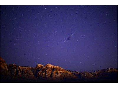 Meteor lights up the sky over the Spring Mountains