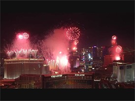 News Year's Eve Fireworks on the Las Vegas Strip - NAT SOUND ONLY