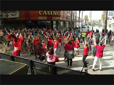 """A Surprise """"Flash Mob"""" in Downtown Las Vegas for National Travel and Tourism Week!"""