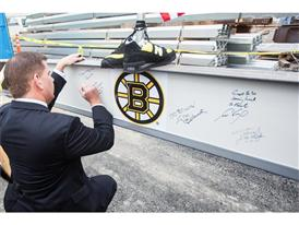 Mayor Walsh Signing Warrior Ice Arena Beam