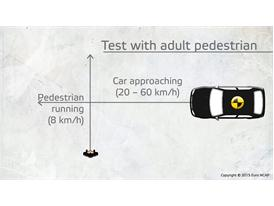 Scenario of AEB Pedestrian test with an adult dummy