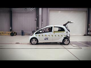 Euro NCAP testing the Mitsubishi i-MiEV, a fully electric car