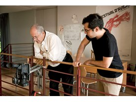 William Kentridge and Mateo López working on an animation together in Kentridge's studio, Johannesburg.