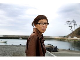 "Architecture mentor Kazuyo Sejima at a Kesennuma site on 2 April 2013 that has been chosen for the construction of a ""Ho"