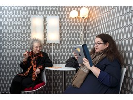 Margaret Atwood and Naomi Alderman meet at Wattpad's office in Toronto in March 2013 and compare notes on the zombie nov