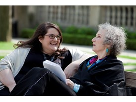 Mentor Margaret Atwood and protégée Naomi Alderman at Trinity College, Toronto.