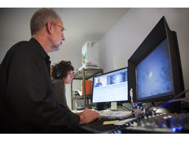 Sara Fgaier observes while Walter Murch edits Particle Fever in Walter Murch's editing suite.