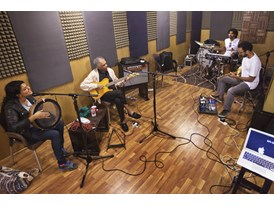 Mentor Gilberto Gil with his protégée Dina el Wedidi at Vibe Studio, Cairo, where they rehearse with Gil's band while wa