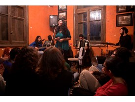 Dina El Wedidi and her band play at the Sufi Bookstore in Zamalek, Cairo.