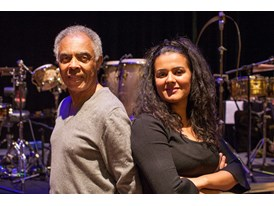 Gilberto Gil and Dina El Wedidi at Lisner Hall, Washington, before Gil's concert.