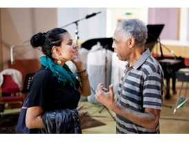 Dina El Wedidi with Gilberto Gil at the Dinemec Studios in Switzerland where Gil was recording an album.