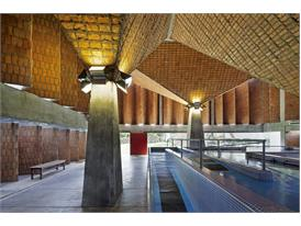 In Asuncion, part of a swimming pool in the Teleton building designed by protégée Gloria Cabral's firm, El Gabinete de A