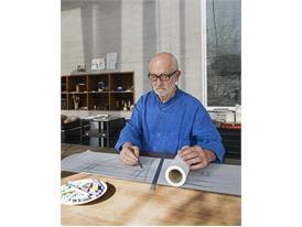 Mentor Peter Zumthor in his studio in Haldenstein.
