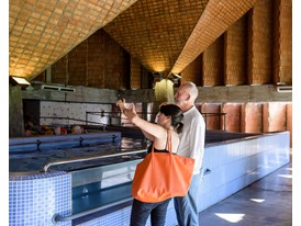 Protégée Gloria Cabral and mentor Peter Zumthor visiting the Teletón building in Asuncíon designed by Cabral's firm, El