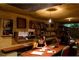 Protégée Gloria Cabral at work at El Gabinete de Arquitectura in Asuncíon, the architectural firm to which she belongs.