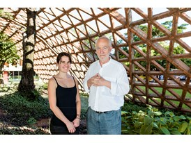 Protégée Gloria Cabral shows mentor Peter Zumthor the Teletón building in Asuncion, designed by Cabral's architecture fi
