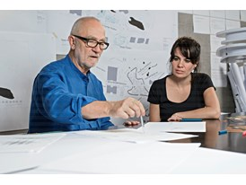 "Protégée Gloria Cabral and mentor Peter Zumthor at work, in his studio in Haldenstein, preparing a design for the ""tea c"