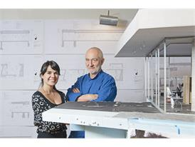 Protégée Gloria Cabral and mentor Peter Zumthor in his studio in Haldenstein.