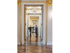 Mentor Alexei Ratmansky (right) and protégé Myles Thatcher in the foyer of Munich's Bavarian State Opera.