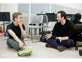 Mentor Alexei Ratmansky (right) with protégé Myles Thatcher at the Chris Hellman Center for Dance in San Francisco where